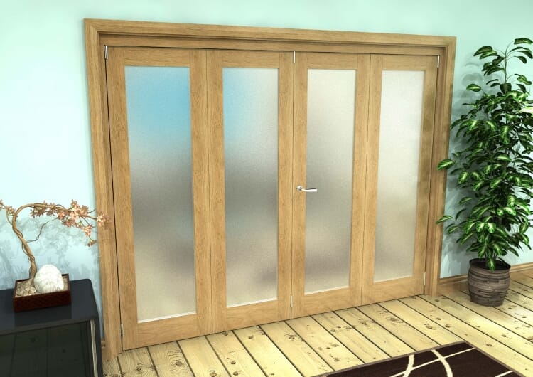 Frosted Glazed Oak Prefinished 4 Door Roomfold Grande (2 + 2 X 610mm Doors) Image