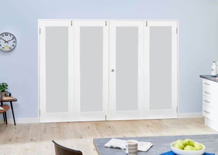 Frosted Glazed White Primed Shaker 4 Door Frenchfold (4 X 1
