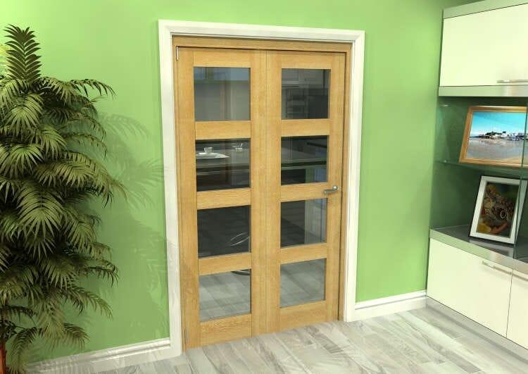 Glazed Oak 2 Door 4l Roomfold Grande (2 + 0 X 573mm Doors) Image