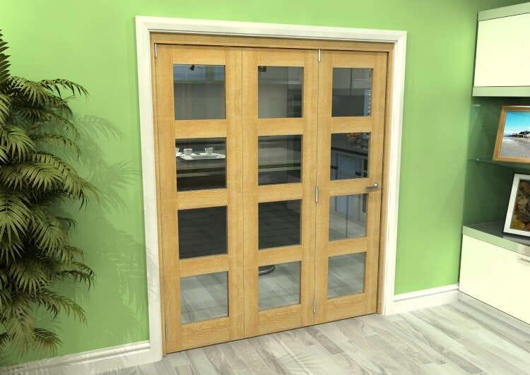 Glazed Oak 3 Door 4l Roomfold Grande 1800mm (6ft) 3 + 0 Set Image