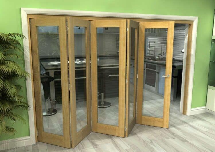 Glazed Oak 5 Door Roomfold Grande (5 + 0 X 610mm Doors) Image
