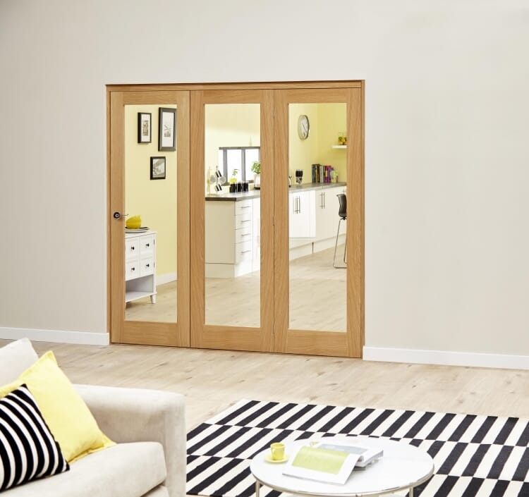 Glazed Oak Prefinished 3 Door Roomfold Deluxe (3 X 1