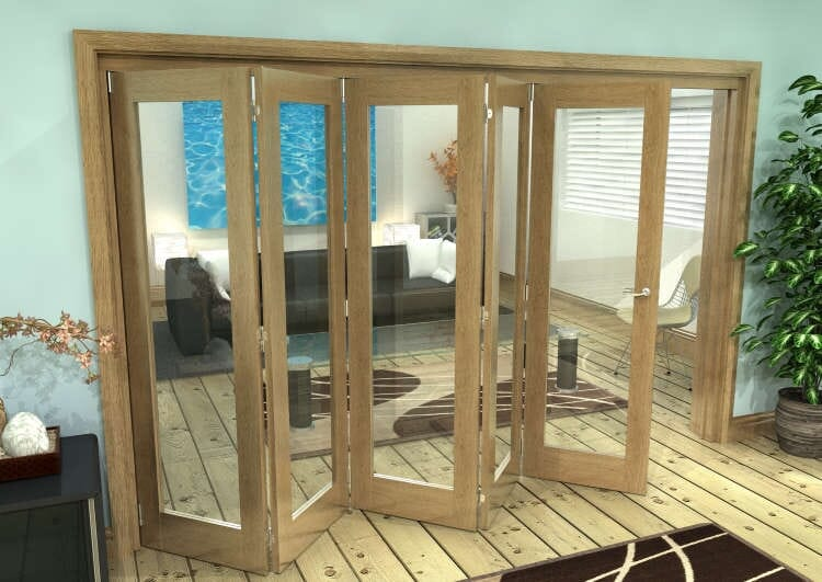 Glazed Oak Prefinished 5 Door Roomfold Grande (5 + 0 X 686mm Doors) Image