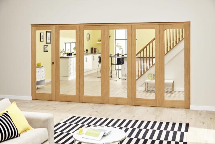 Glazed Oak Prefinished 6 Door Roomfold Deluxe (5+1 X 2