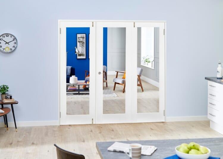 Glazed White Primed Shaker 3 Door Frenchfold (3 X 1
