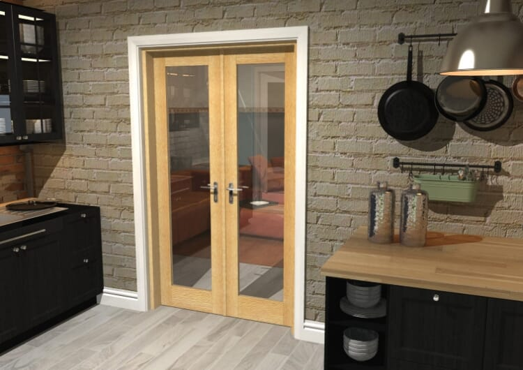 "P10 Oak French Door Set - 21"" Pair Image"