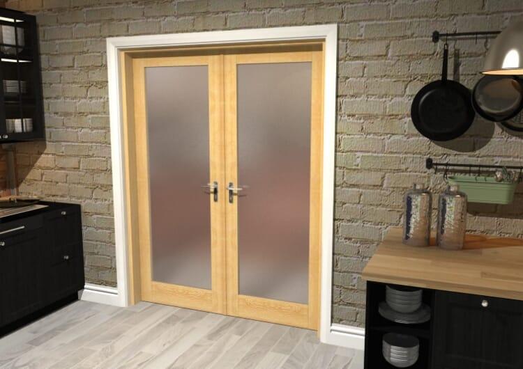 "Obscure Oak French Door Set  - 30"" Pair Image"