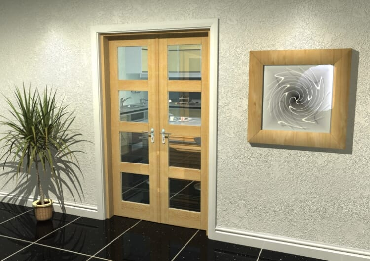 "Oak 4l French Door Set  - 22.5"" Pair Image"