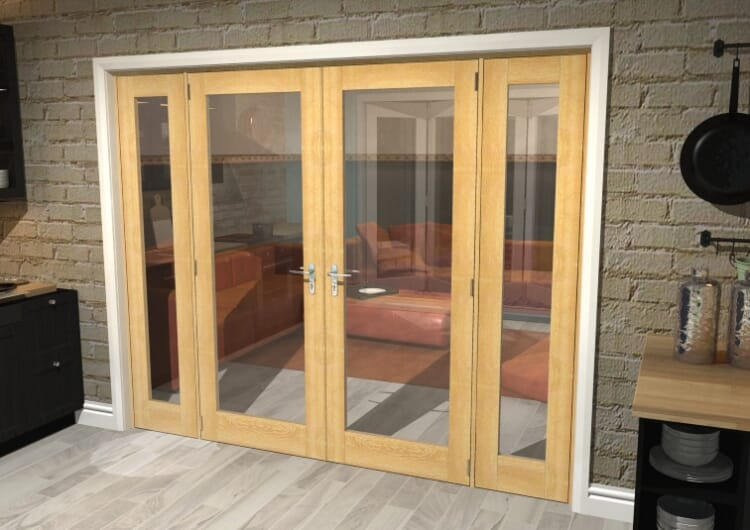 "Oak Prefinished French Door Set  - 30"" Pair + 2 X 18"" Sidelights Image"