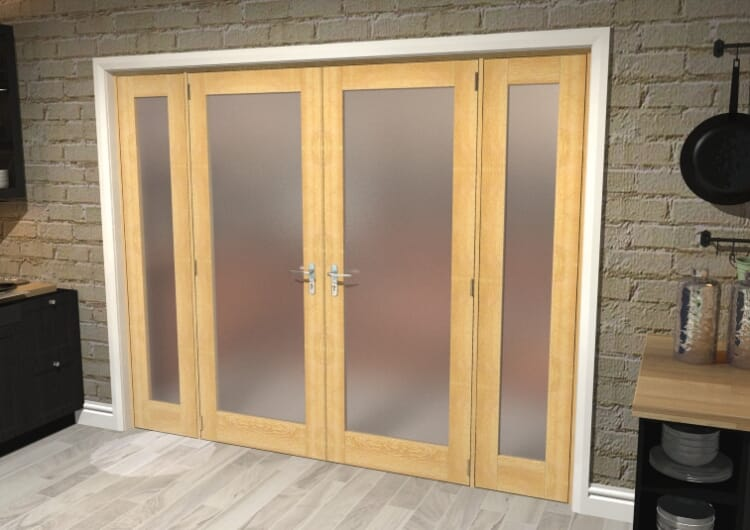"""Obscure Oak French Door Set  - 30"""" Pair + 2 X 16.5"""" Sidelights Image"""
