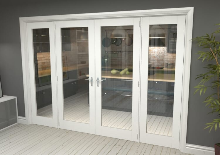 """P10 White French Door Set - 30"""" Pair + 2 X 22.5"""" Sidelights Image"""