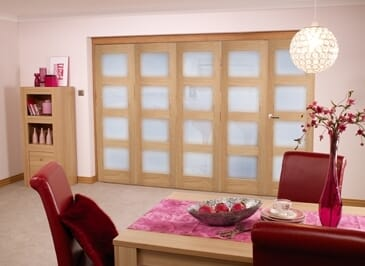 Oak 4l Shaker Glazed Roomfold ( 5 X 2