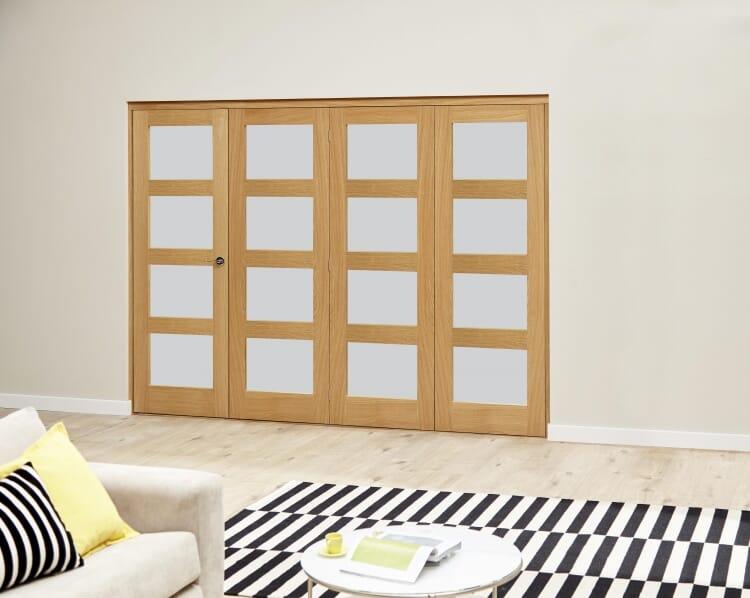 Oak 4l Shaker Glazed Roomfold Deluxe (4 X 533mm Doors) Image