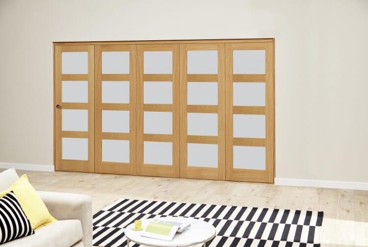 Oak 4l Shaker Glazed Roomfold Deluxe (5 X 686mm Doors) Image