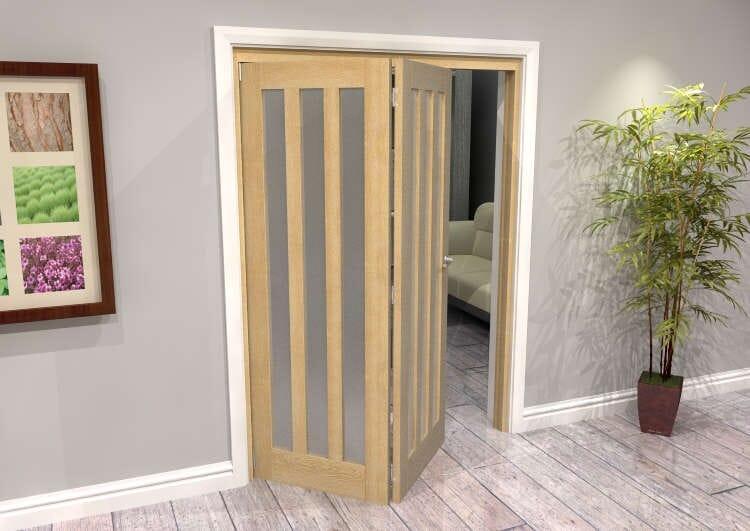 Oak Aston Frosted Glazed 2 Door Roomfold Grande (2 + 0 X 762mm Doors) Image