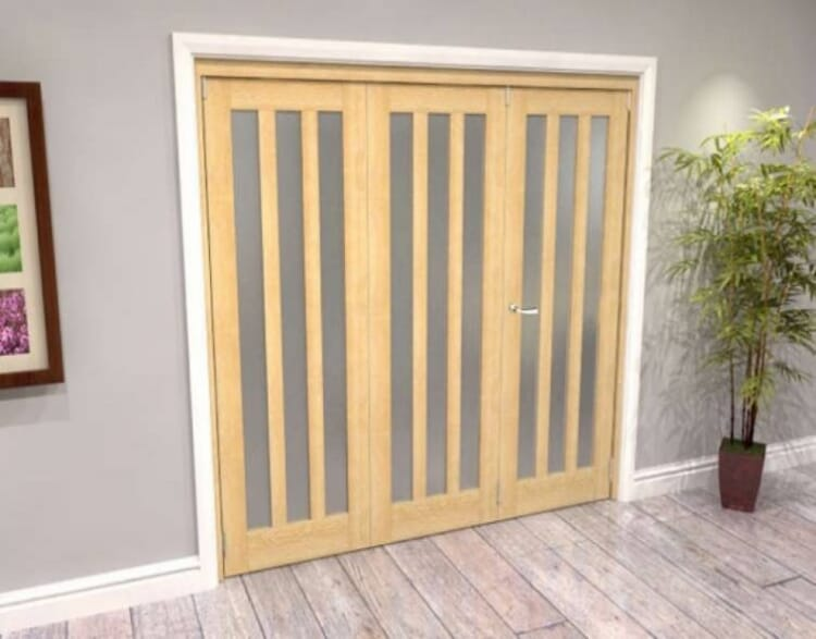 Oak Aston Frosted Glazed 3 Door Roomfold Grande (2 + 1 X 686mm Doors) Image