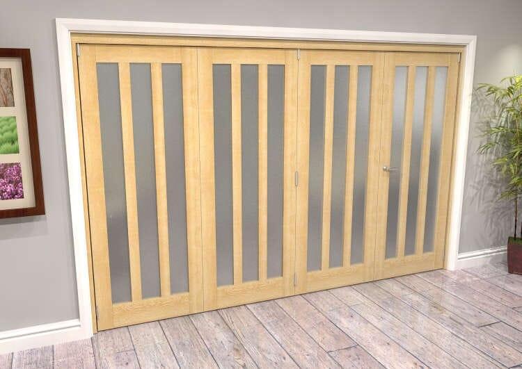 Oak Aston Frosted Glazed 4 Door Roomfold Grande (3 + 1 X 762mm Doors) Image