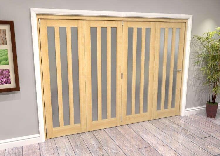 Oak Aston Frosted Glazed 4 Door Roomfold Grande (4 + 0 X 686mm Doors) Image