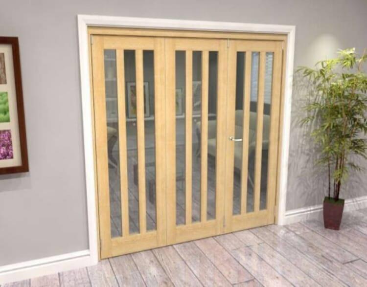 Oak Aston Glazed 3 Door Roomfold Grande (2 + 1 X 686mm Doors) Image