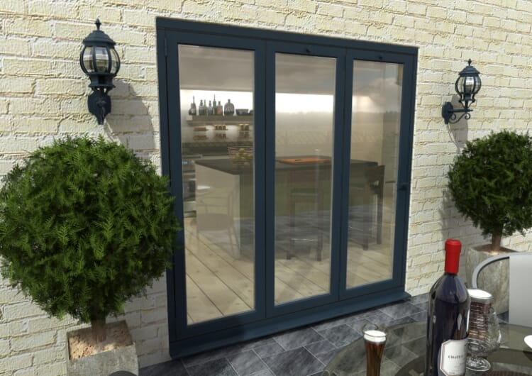 Part Q 2100mm Grey Aluminium Bifold Doors - Climadoor Image
