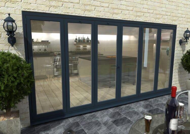 Part Q 4200mm ( 3 + 3 ) Grey Aluminium Bifold Doors - Climadoor Image
