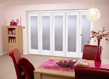 """White Bifold 5 Door System ( 5 X 27"""" Doors ) Frosted. Image"""