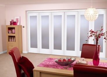 """White Bifold 6 Door System ( 5 + 1 X 27"""" Doors ) Frosted. Image"""