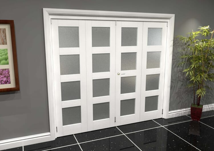 White Frosted 4l Roomfold Grande (2 + 2 X 610mm Doors) Image
