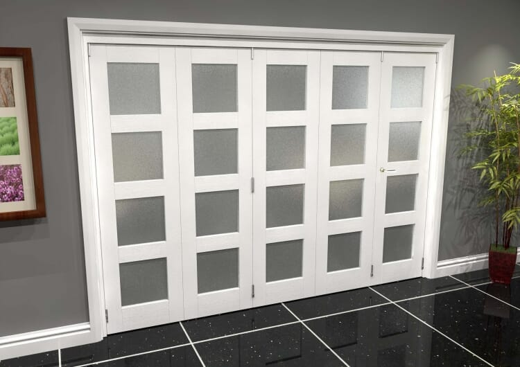 White Frosted 4l Roomfold Grande 3000mm (10ft) 4 + 1 Set Image