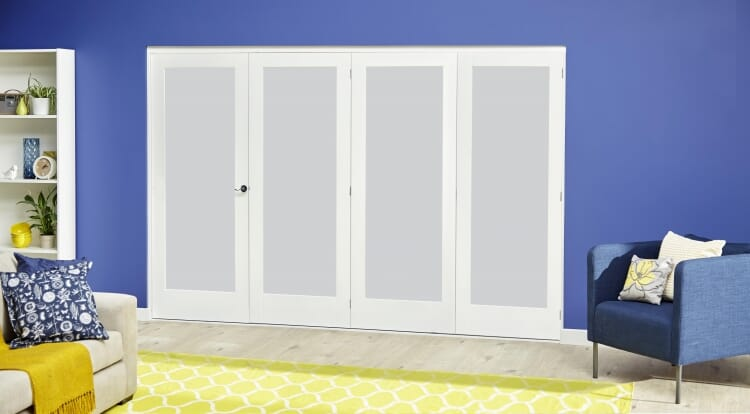White P10 Frosted Roomfold Deluxe ( 4 X 610mm Doors ) Image